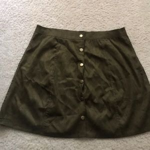 Olive green button down skirt